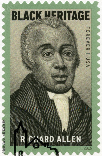 Photo USA - 2016: shows portrait Richard Allen (1760-1831), bishop, Black Heritage, 20