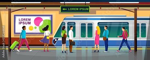 Carta da parati Modern metro station with people and train vector illustration