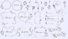 花のフレームイラストのベクター素材セット