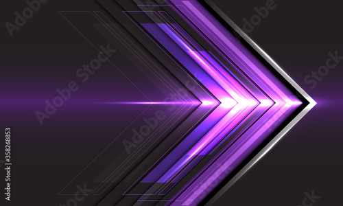 Abstract violet arrow light direction speed on black technology futuristic design modern background vector illustration Fototapeta