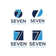 Initials 7 Or Seven Abstract Logo Design Vector