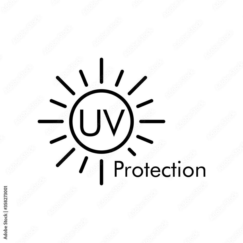 Fototapeta Concepto vacaciones de verano. Crema solar. Icono plano lineal texto UV Protection en sol en color negro