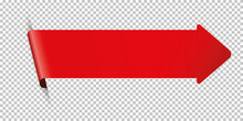 Red Arrow Bookmark Banner For Any Text On Transparent Background