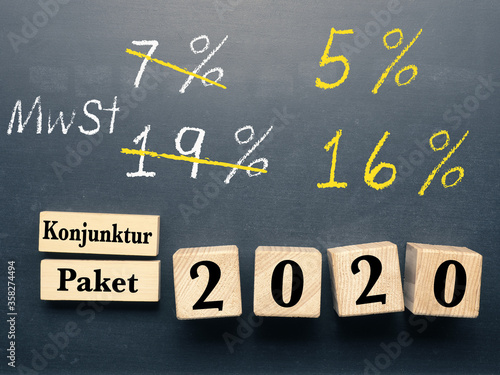 Fototapeta Conceptual image with wooden blocks on a chalkboard for economic stimulus package for Germany