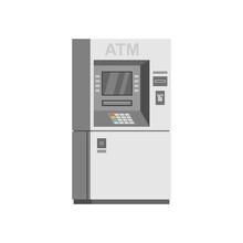 Bank ATM Machine. Flat Style. Isolated On White Background