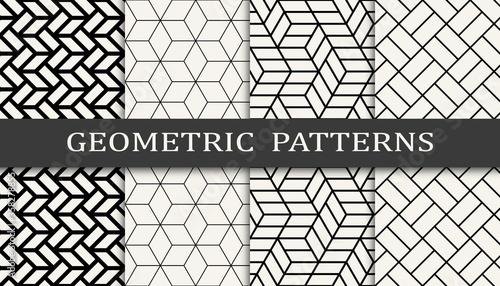 Fototapeta Seamless geometric pattern print set. Fashion background pattern design. Vector illustration. obraz