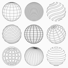 GLOBE GRID ICONS VECTOR SET