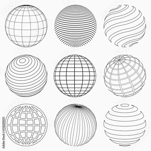 Leinwand Poster GLOBE GRID ICONS VECTOR SET
