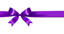 Shiny Purple Ribbon Bow Isolated On White Background With Copy Space. For Using Special Days.
