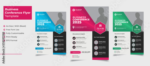 Fototapeta Creative and clean business conference flyer with color variation obraz