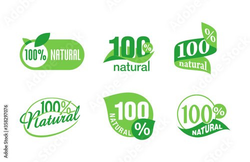 100 natural sticker collection - isolated vector quality stamp for healthy food Canvas Print