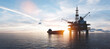 canvas print picture - Oil platform on the ocean. Offshore drilling for gas and petroleum