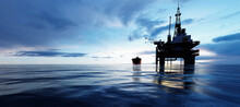 Oil Platform On The Ocean. Off...