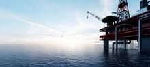 Oil Platform On The Ocean. Off...