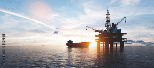 Oil platform on the ocean Wallpaper Mural