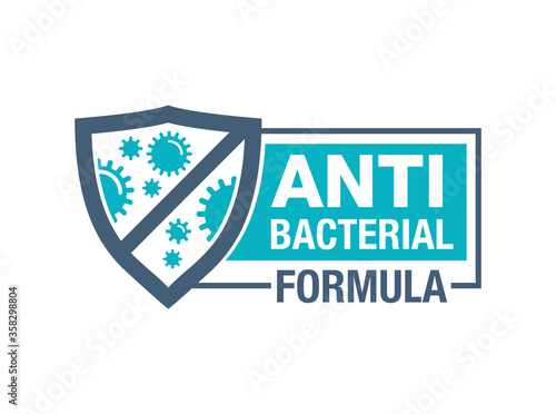 Obraz Antibacterial formula horizontal stamp - shield with crossed bacterias inside - vector isolated sign for antiseptic cosmetics and medical pharmaceutical products  - fototapety do salonu