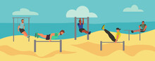 Men Taking Physical Activity  On The Beach. Training, Street Workout, Exercises. Active Sports On Seaside On The Playground. Flat Style Vector Illustration.