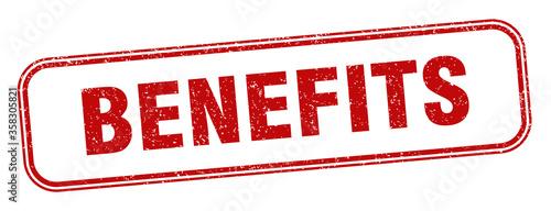 Fototapeta benefits stamp. benefits square grunge sign. label obraz