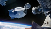 Space Vehicle Capsule Orbiting The Earth Orbit Cosmos. Preparing Of Docking Into Space Station. Elements Of This Image Furnished By NASA.