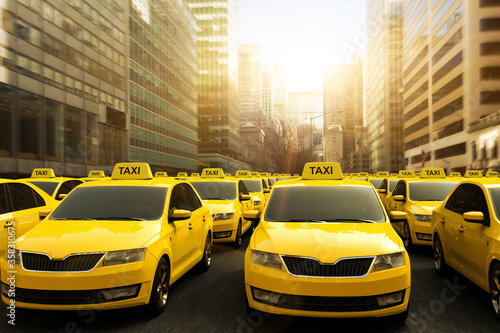 Fototapety, obrazy: 3D rendering of a traffic jam of yellow taxis in a strike.