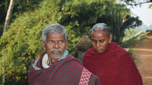 Fotografie, Obraz Indian Old villagers portrait on street at morning during winter in West Bengal
