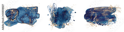 Abstract watercolor blue and gold shapes on white background Tapéta, Fotótapéta