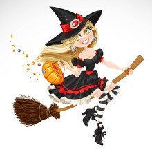 Beautiful Witch With Candy In ...