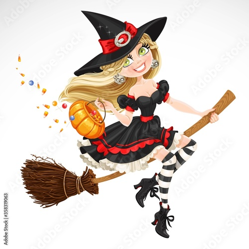 Beautiful witch with candy in pumpkin flying on a broomstick isolated on white b Fotobehang