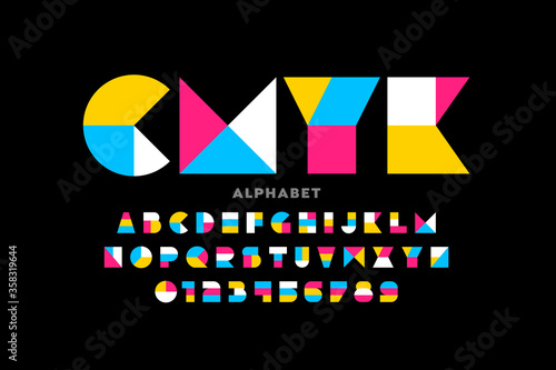 Fotografía Geometric shapes style font design alphabet letters and numbers