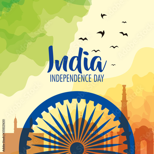 Valokuva indian independence day celebration with ashoka wheel decoration vector illustra