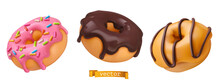 Donuts With Pink Icing And Chocolate. 3d Vector Realistic Objects. Food Icon Set
