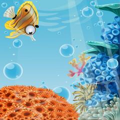 Fototapeta na wymiar Deep blue sea with coral reefs
