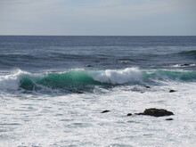 Waves In Carmel-by-the-Sea In The Monterey County In California In The Month Of October, USA
