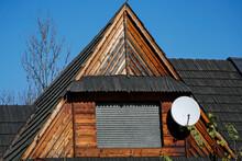 Satellite Dish On Vintage Wood...