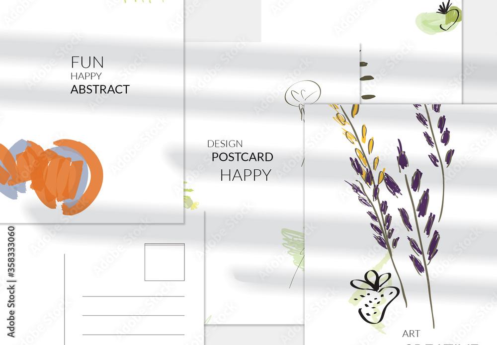 Fototapeta Hand Drawn Grass and Strawberry Vertical Postcard Layout