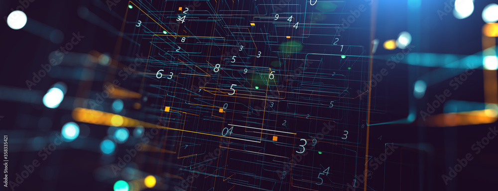 Fototapeta Abstract tech and science background. 3d illustration. Dots and lines geometric graphics.Cyberspace and internet concept.