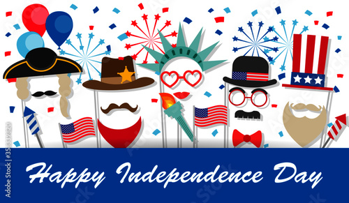 Fourth of July background with booth props, fireworks, flags, balloons, confetti Tablou Canvas