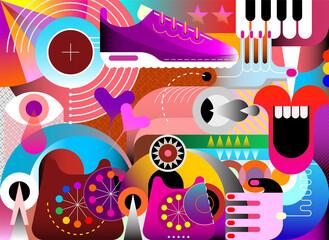 Dizajn vektorske umjetnosti sa slučajnim predmetima i geometrijskim oblicima. Grafička ilustracija u boji.