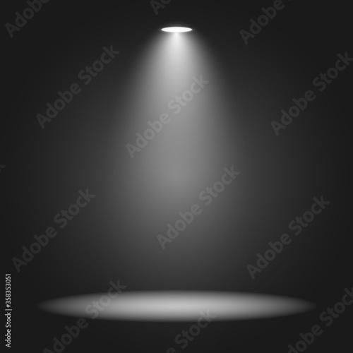 Fototapeta White and black background with white spotlights - Vector obraz na płótnie
