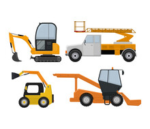 Road Cleaning Machine Excavator Tractor Vector Vehicle Truck Sweeper Cleaner Wash City Streets Illustration, Vehicle Van Cat Excavator Bulldozer Tractor Lorry Transportation Isolated On Background.