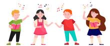 Cartoon Children Choir Flat Ve...