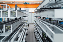 Metal Bars On Shelf In A Factory