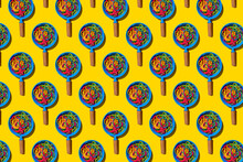 Pattern Of Toy Frying Pans With Colorful Pasta