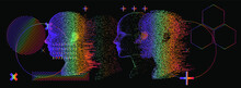 Artificial Intelligence And Virtual Reality Concept. 3D Human Head Made Of Pixels In Neon Holographic Vivid Colors On Dark Background.