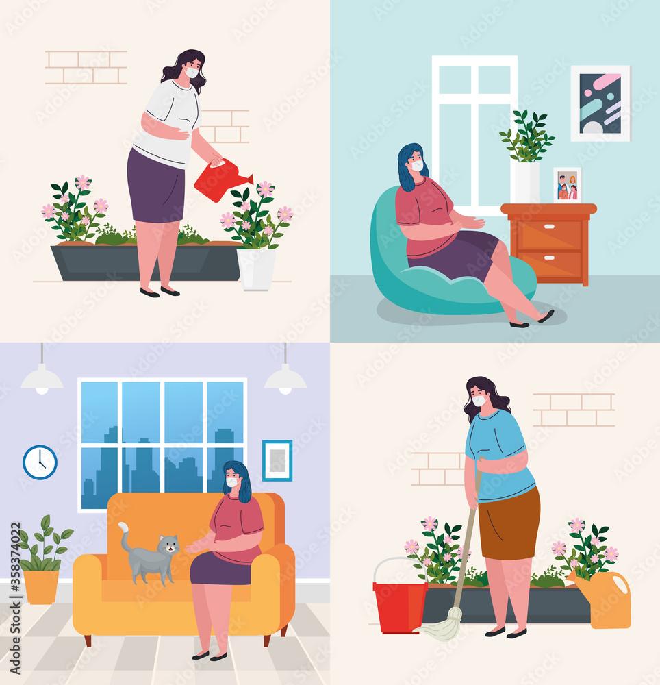 Fototapeta stay home, set scenes people, quarantine or self isolation vector illustration design - obraz na płótnie