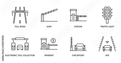 Vector set of toll road icons Canvas Print
