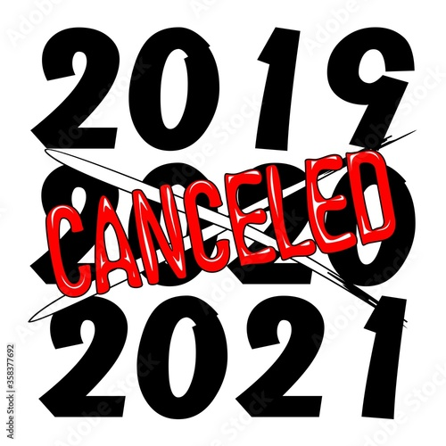 2020 Canceled Year humorous text Vector  #358377692