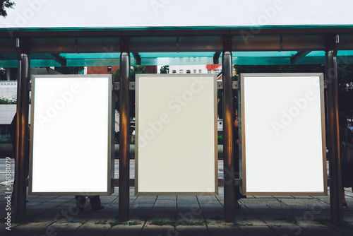 Papel de parede Bus station billboards with blank copy space posters for advertising text messag