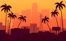 Orange Sunset In California, View Of The City With Palm Trees.