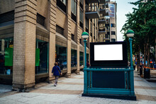 New York City Subway Entrance With Clear Empty Billboard With Copy Space Area For Advertising Text Message Or Content, Public Metro Transportation Information Board, Promotional Mock Up On City Street